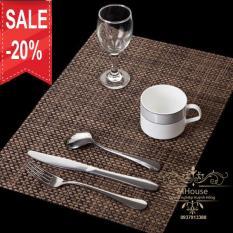 Bộ 4 tấm khăn lót bàn ăn, chén dĩa, ly tách (nâu)