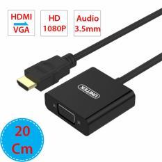 Dây cáp chuyển HDMI sang VGA + Audio 3.5mm adapter 20Cm full HD1080P- Có Micro USB DC5V hỗ trợ nguồn điện ngoài UNITEK Y-6333BK (màu đen – vỏ nhựa)