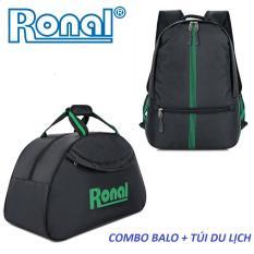 Combo ba lô, túi du lịch Ronal CB06 – Đen xanh lá