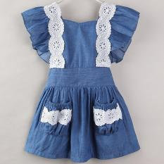 Baby Girls Dresses Toddler Girl Clothing Cowboy Blue Dress Summer 2018 Brand Sleeveless Lace Clothing Kids Children Clothes 1-5Y – intl