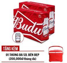 Bộ 02 thùng Budweiser lon 330ml – Thùng 24 Tặng kèm 01 Thùng đá 12L