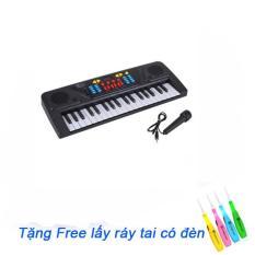 (TẶNG LẤY RÁY TAI)Đàn Piano điện tử có mic sành điệu cho bé MQ-3700 (Đen phối trắng):