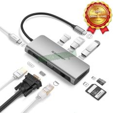 Bộ chuyển USB C to HDMI + VGA + USB 3.0 + LAN 1Gbps + Card Reader đa năng Ugreen 40873