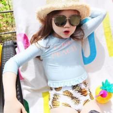 Đồ bơi croptop tay dài cho bé gái từ 1-14 tuổi màu xanh