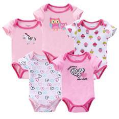Set 5 bộ body tay ngắn cho bé gái kèm móc. Set 5 áo liền quần cho bé gái kèm móc
