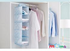 Kệ vải treo 5 tầng, Tủ vải treo 5 ngăn dán trên thanh ngang tiết kiệm diện tích đựng tất, vớ, đồ lót, khăn, đồ chơi_HL051