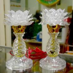 Cặp đèn hoa sen trắng chân cao chớp bảy màu cao 20cm-Có video sản phẩm