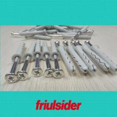 Túi 25 cái tắc kê nhựa cao cấp Friulsider TSS 6×50 (SX tại Ý, có kèm theo vít)