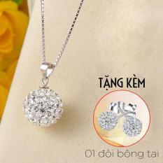 [TẶNG 01 đôi bông tai] Dây chuyền bạc Ý s925 đính kim cương nhân tạo sang trọng (DC01)