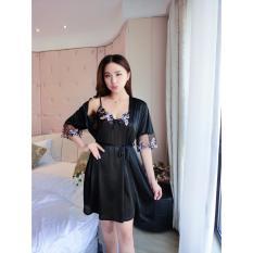 Đầm ngủ phi lụa mát lạnh thêu hoa ngực kèm áo choàng ren tay SEXY LADY STT-SX332