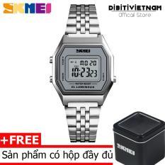 Đồng hồ nữ số điện tử Skmei DO54 có đèn ban đêm chống nước 30m dây thép không gỉ