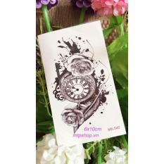 Combo 6 tấm hình xăm dán tattoo 10x6cm hoa văn đồng hồ hoa MX-540 (Một tấm gồm nhiều hình. Mua 1 tặng 1 mini tattoo)