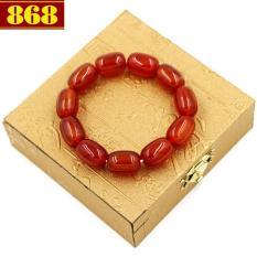 Vòng chuỗi đá thạch anh đỏ bầu 13mm x 18mm kèm hộp gỗ