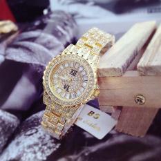 Đồng hồ nữ dây thép BS Đính Đá (Dây Vàng, Mặt Vàng) + Tặng Kèm Hộp