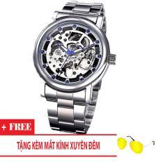 Đồng hồ cơ nam dây thép thương hiệu Nary (Dây Bạc, Mặt Bạc) + Tặng Kèm Mắt Kính Xuyên Đêm