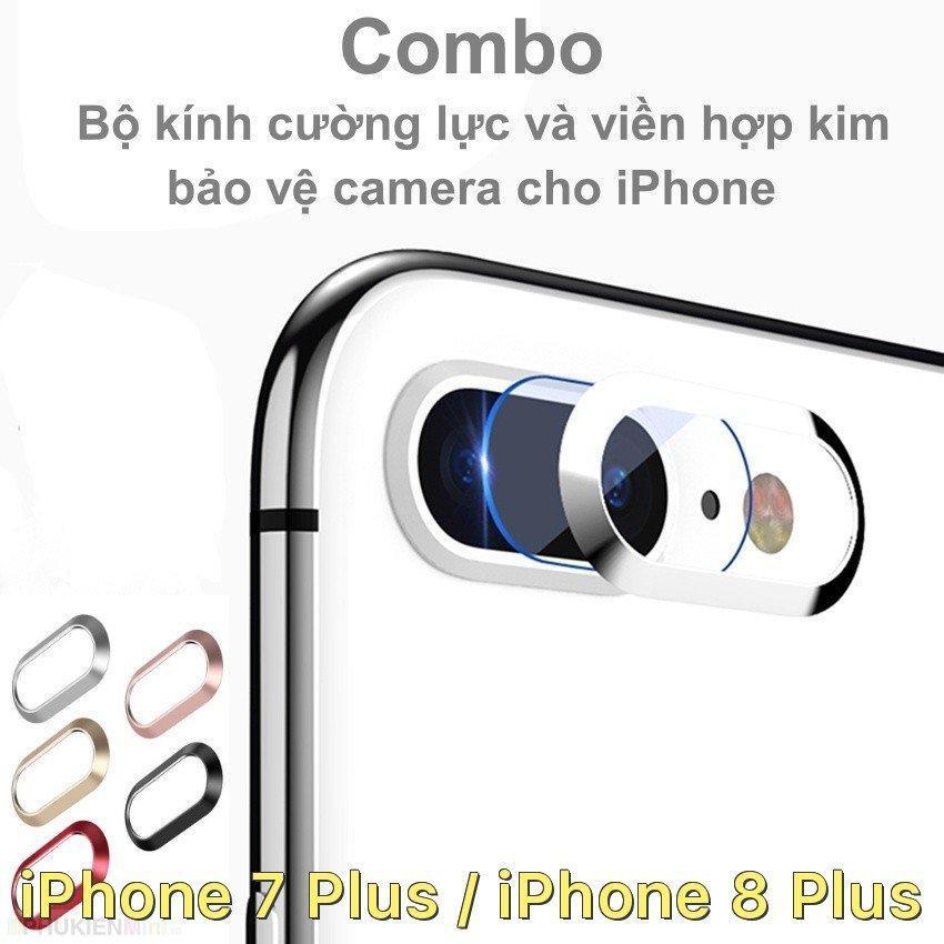 Combo bộ kính cường lực dán camera và viền hợp kim bảo vệ camera cho iPhone 7 Plus / iPhone...