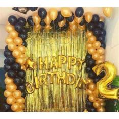 Set bóng sinh nhật 2 rèm kim tuyến và 50 bóng nhũ cỡ lớn tặng bơm cầm tay và 2 cuộn băng dính dán bóng bay chuyên dụng, phụ kiện sinh nhật đẹp lung linh
