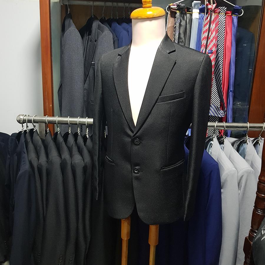 Bộ vest nam màu đen kiểu 2 nút cho các bác (áo + quần)