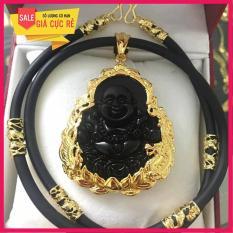 Dây chuyền nam mặt Phật Di Lạc đá thạch anh cao cấp (đen)