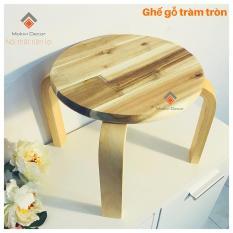 Ghế gỗ mặt tròn trẻ em cao 25cm, ghế GỖ TRÀM chân dẹp, ghế đôn cafe phong cách