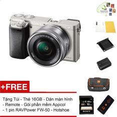 Máy ảnh Sony Alpha A6000 kèm Kit 16-50mm – Màu Bạc – Tặng thẻ nhớ + Túi + Dán màn hình + Remote + Gói cài app + Nắp hotshoe + 1 Pin RAVPower FW-50 – Hàng phân phối chính hãng