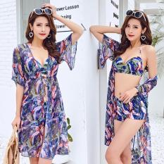 Bộ áo tắm bikini dây yếm quần đùi và choàng voan họa tiết hoa lá