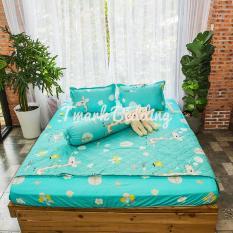 Bộ ga gối giường Cotton Poly Tmark (Nai xanh)