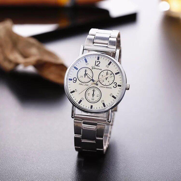 Đồng hồ nam dây thép giá rẻ Geneva (Trắng)