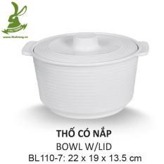 Thố cơm có nắp để bàn nhựa melamine cao cấp sang trọng 22*19cm SRITHAI SUPERWARE BL110-7 W