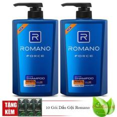 Combo 2 chai dầu gội Romano force (650 ml*2) tặng 1 dây gội Romano 10 gói