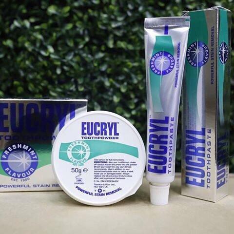 Bộ kem đánh răng và Bột tẩy trắng răng EuCryl nhập khẩu từ Anh