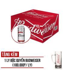 Budweiser lon 500ml – Thùng 12 lon – Tặng ngay 01 Ly Thủy Tinh Budweiser