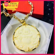 Mặt Phật đá phong thủy bọc bạc Thái mạ vàng (trắng) + tặng dây vàng