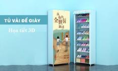 Tủ để giày dép 9 tầng bằng vải cao cấp họa tiết 3D