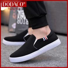 Giày lười nam DODACO LVS0007 giày mọi nam thời trang style hàn quốc chất liệu siêu nhẹ vải khử mùi thoáng khí hàng hot trends giá rẻ mẫu mới nhất 2018 màu Đen Xám Đỏ Vàng