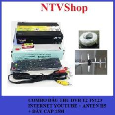 Combo đầu thu DVB T2 Hùng Việt TS123 internet + Anten H5 + Dây cáp 15m