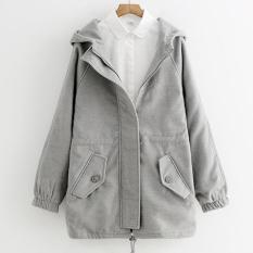 Áo khoác hoodie nữ form dài thu đông có nón trùm LTTA1180 (Xám)