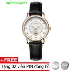 Đồng hồ nữ thời trang nữ Sanda V02 có lịch ngày dây da cao cấp