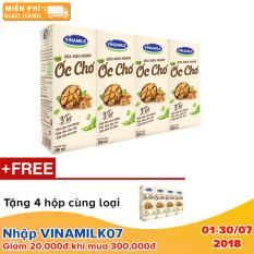 Thùng 12 lốc Sữa đậu nành Vinamilk hạt Óc chó – Lốc 4 hộp x 180ml+ Tặng 4 hộp cùng loại