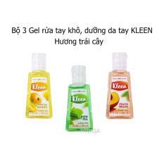 Bộ 3 Gel rửa tay khô Kleen – Hương trái cây