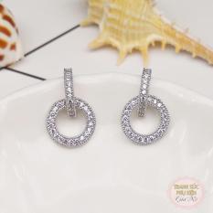 Bông tai mẫu mới hot trend thời trang Hàn Quốc đá sáng cực xinh HK Bạc ý S925, HT163