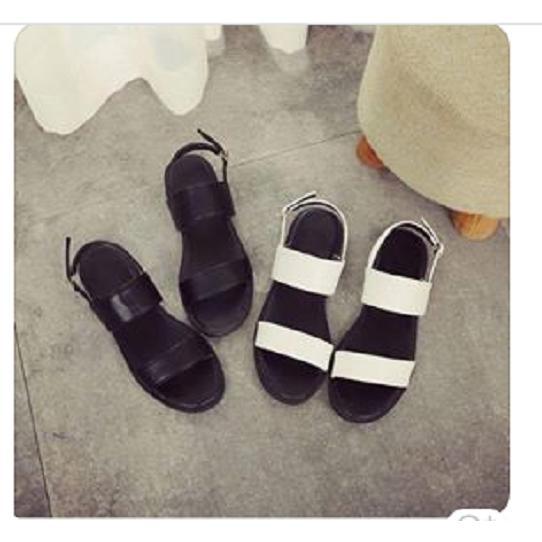 Giày sandal 2 quai lót đen-màu đen
