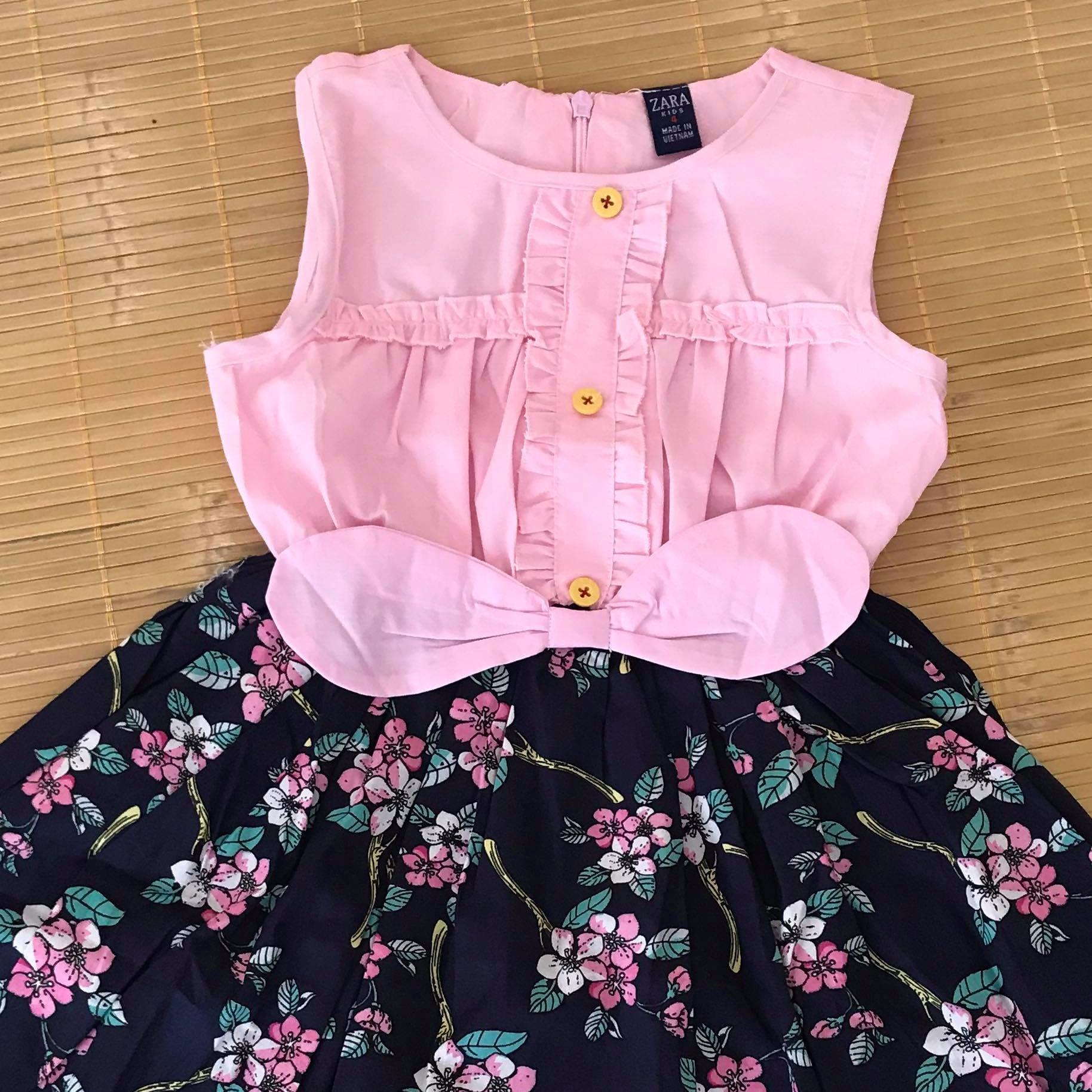 Đầm tai thỏ Zara Kid chân váy hoa