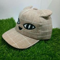 Mũ bé trai sọc caro mèo con dễ thương