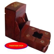 Gạt tàn kèm đựng bao thuốc gỗ hương ta đỏ (GT3S)