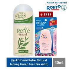 Lăn khử mùi Refre Natural Green Tea Hương Trà Xanh 40ml + Tặng Sữa chống nắng Sunplay Skin Aqua 6g