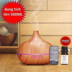 Máy khuếch tán tinh dầu, tạo ẩm vân gỗ 500ml ( tặng tinh dầu)