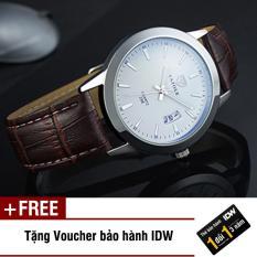 Đồng hồ nam dây da thời trang Yazole IDW S1441 + Tặng kèm voucher bảo hành IDW
