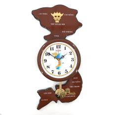 Đồng hồ treo tường hình bản đồ Việt Nam Vati S82 (nâu)- Mới 100%