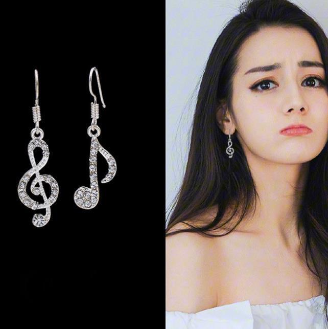 Bông Tai Bạc S925 Nốt Nhạc Zircon Phong Cách Hàn Quốc BTNOTENHAC01